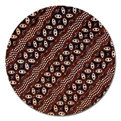 Art Traditional Batik Pattern Magnet 5  (round)