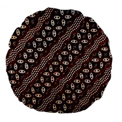 Art Traditional Batik Pattern Large 18  Premium Flano Round Cushions by BangZart