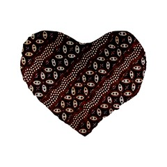 Art Traditional Batik Pattern Standard 16  Premium Flano Heart Shape Cushions by BangZart
