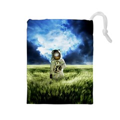 Astronaut Drawstring Pouches (large)  by BangZart