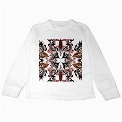 Art Traditional Batik Flower Pattern Kids Long Sleeve T Shirts