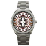 Art Traditional Batik Flower Pattern Sport Metal Watch Front
