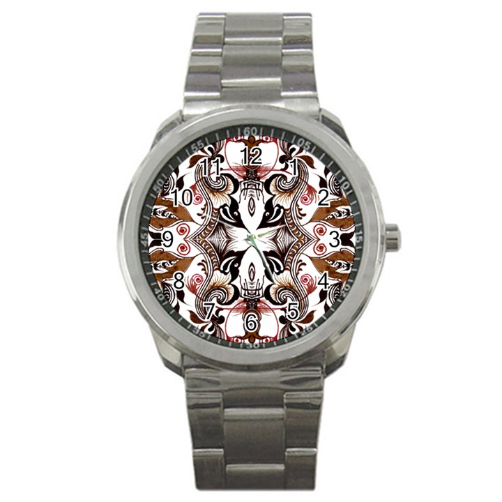Art Traditional Batik Flower Pattern Sport Metal Watch