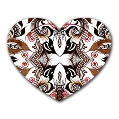Art Traditional Batik Flower Pattern Heart Mousepads