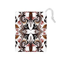 Art Traditional Batik Flower Pattern Drawstring Pouches (medium)