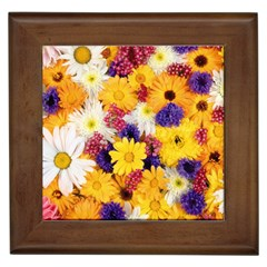 Colorful Flowers Pattern Framed Tiles