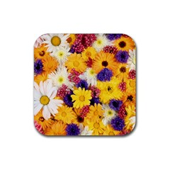 Colorful Flowers Pattern Rubber Coaster (square)
