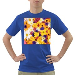 Colorful Flowers Pattern Dark T Shirt