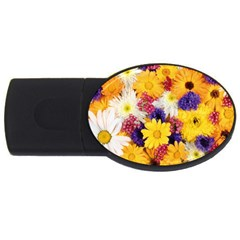 Colorful Flowers Pattern Usb Flash Drive Oval (4 Gb)