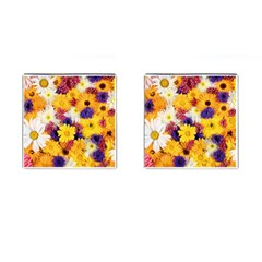 Colorful Flowers Pattern Cufflinks (square) by BangZart