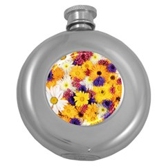 Colorful Flowers Pattern Round Hip Flask (5 Oz)