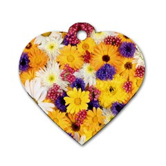 Colorful Flowers Pattern Dog Tag Heart (two Sides) by BangZart