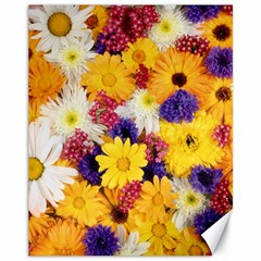 Colorful Flowers Pattern Canvas 11  X 14