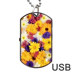 Colorful Flowers Pattern Dog Tag Usb Flash (two Sides) by BangZart