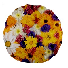 Colorful Flowers Pattern Large 18  Premium Round Cushions by BangZart