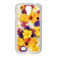 Colorful Flowers Pattern Samsung Galaxy S4 I9500/ I9505 Case (white) by BangZart