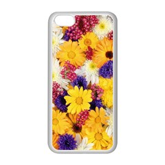 Colorful Flowers Pattern Apple Iphone 5c Seamless Case (white) by BangZart