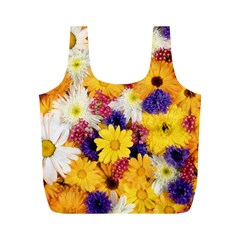 Colorful Flowers Pattern Full Print Recycle Bags (m)