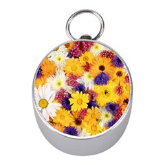 Colorful Flowers Pattern Mini Silver Compasses by BangZart