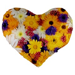 Colorful Flowers Pattern Large 19  Premium Flano Heart Shape Cushions