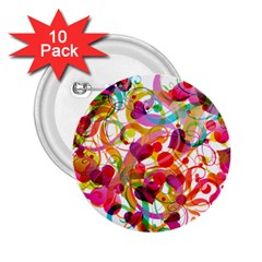 Abstract Colorful Heart 2 25  Buttons (10 Pack)