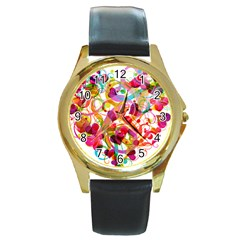 Abstract Colorful Heart Round Gold Metal Watch