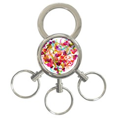 Abstract Colorful Heart 3 Ring Key Chains by BangZart
