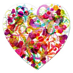 Abstract Colorful Heart Jigsaw Puzzle (heart)