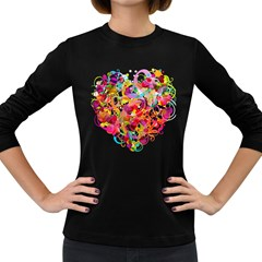 Abstract Colorful Heart Women s Long Sleeve Dark T Shirts