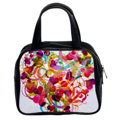Abstract Colorful Heart Classic Handbags (2 Sides) by BangZart