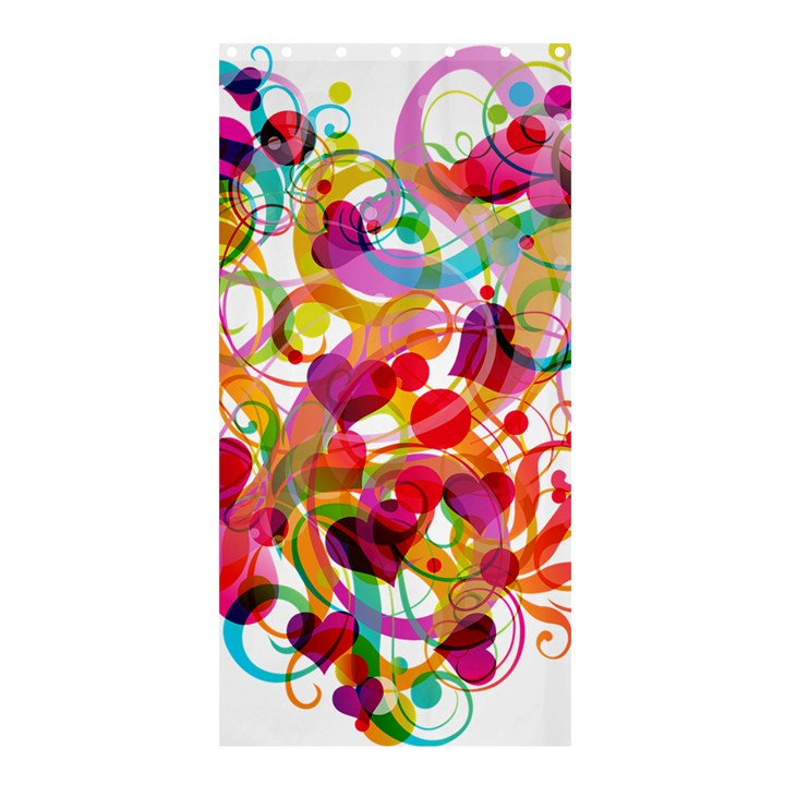 Abstract Colorful Heart Shower Curtain 36  x 72  (Stall)