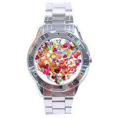 Abstract Colorful Heart Stainless Steel Analogue Watch
