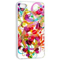 Abstract Colorful Heart Apple Iphone 4/4s Seamless Case (white) by BangZart