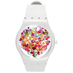 Abstract Colorful Heart Round Plastic Sport Watch (m) by BangZart