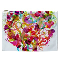 Abstract Colorful Heart Cosmetic Bag (xxl)  by BangZart