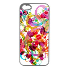 Abstract Colorful Heart Apple Iphone 5 Case (silver)