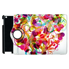 Abstract Colorful Heart Apple Ipad 2 Flip 360 Case by BangZart