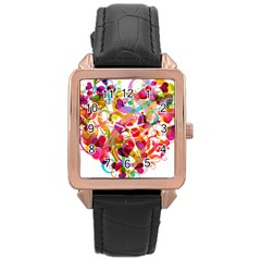 Abstract Colorful Heart Rose Gold Leather Watch