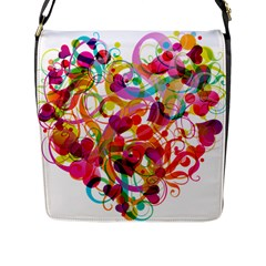 Abstract Colorful Heart Flap Messenger Bag (l)  by BangZart