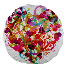 Abstract Colorful Heart Large 18  Premium Flano Round Cushions