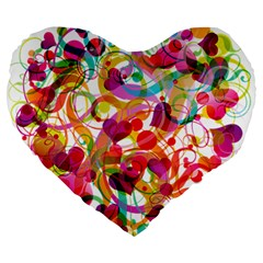 Abstract Colorful Heart Large 19  Premium Flano Heart Shape Cushions by BangZart