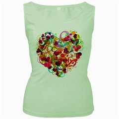Abstract Colorful Heart Women s Green Tank Top
