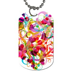 Abstract Colorful Heart Dog Tag (one Side)