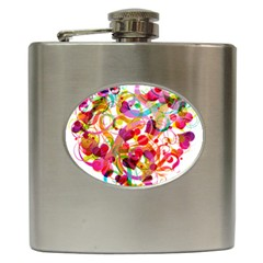 Abstract Colorful Heart Hip Flask (6 Oz) by BangZart