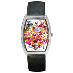 Abstract Colorful Heart Barrel Style Metal Watch by BangZart