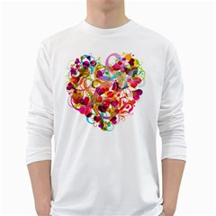 Abstract Colorful Heart White Long Sleeve T Shirts