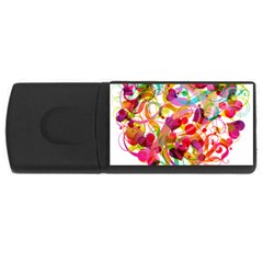 Abstract Colorful Heart Rectangular Usb Flash Drive by BangZart