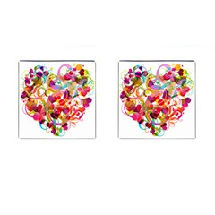 Abstract Colorful Heart Cufflinks (square) by BangZart