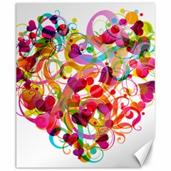 Abstract Colorful Heart Canvas 8  X 10