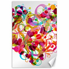 Abstract Colorful Heart Canvas 24  X 36